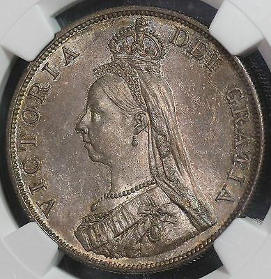 1889 NGC MS63 Silver 4 Shillings Double Florin GREAT BRITAIN Coin (16042401D)