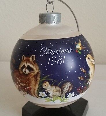 Vintage 1981 Hallmark Glass Christmas Ornament Baby Forest Animals