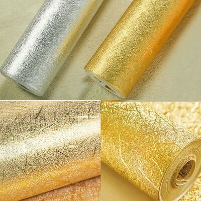 33Ft/10M Modern Fashion Silver&Gold Solid Foil Textured Rolls Wallpaper For Bar