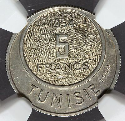 AH1373 1954 Tunisia 5 Francs Copper-Nickel Essai Pattern Coin KM#E31 - NGC MS 64