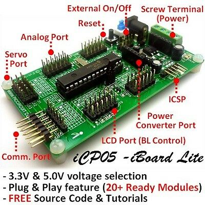 iCP05 - iBoard Lite (Microchip 28pin PIC16F886 Plug & Play Development Board)