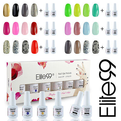 Elite99 6pcs Kit de Esmalte de Uñas de Gel UV Color+Top&Base Coat Manicura 8ml