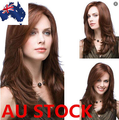 AU Women Medium Hair Dark Brown Middle Long Cropped Straight Cosplay Wig+Wig Cap