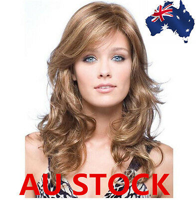 50cm Wavy Layered Flaxen Brown Heat Middle Long Cropped Curly Hair Wig+Wig Cap