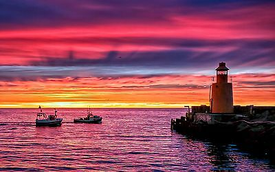 Lighthouse Sea Pink Sunset Boats Canvas Pictures Wall Art Prints All Sizes