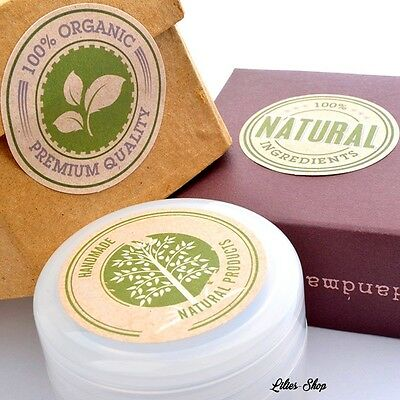 30 étiquettes adhésives kraft 100% bio & naturel organic, natural label Handmade