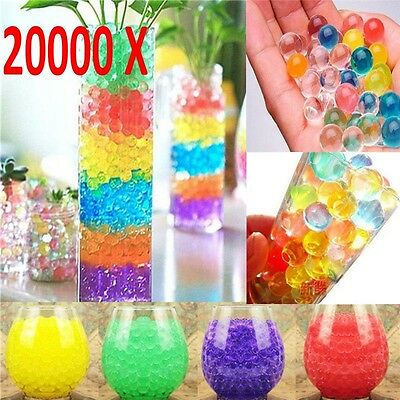 20000 x Water Balls Crystal Pearls Jelly Gel Beads for Orbeez Toys Refill Deco
