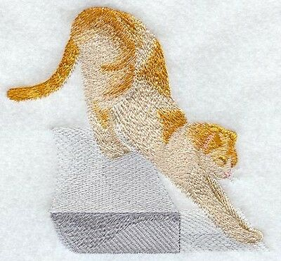 Embroidered Long-Sleeved T-Shirt - Stretching Orange Cat I1262