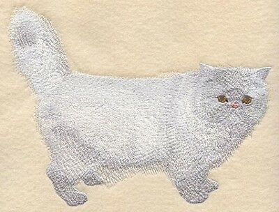 Embroidered Long-Sleeved T-Shirt - White Persian Cat C7944