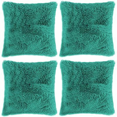 "4 x Long Pile Super Soft and Cuddly Shaggy 17x17"" (43x43cm) Cushion Cover, Teal"