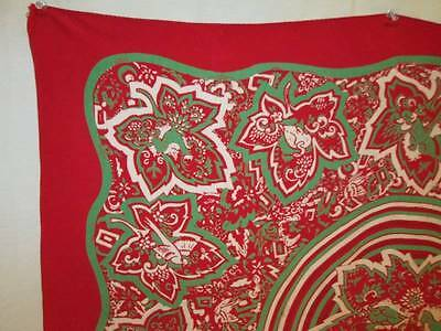 Vintage 30s 40s Scarf Scarves Rayon Red Green White Deer Bird Maple Leaves 35x30