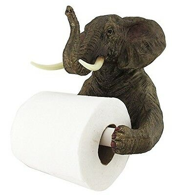 "8"" Tall Pachyderm Jungle Elephant Holding Toilet Tissue Paper Holder Figurine"