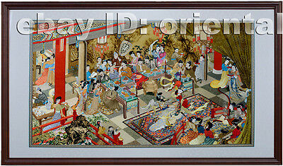 Chinese Totally 100% Hand Embroidered Su Embroidery Art:ancient Banquet map