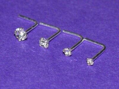 Sterling Silver 1.3, 1.5, 2 or 2.5  mm Crystal  L Shaped Nose Stud