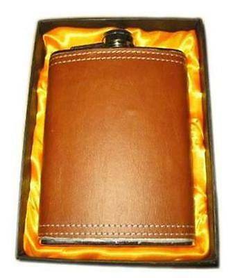 LARGE 8 OZ BROWN LEATHER WRAPPED FLASK IN GIFT BOX bar hip stainless steel NEW