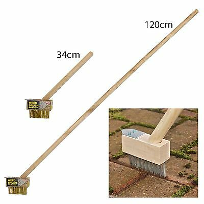 Block Paving Wire Brush Long Wooden Handle Steel Hook Weed Scraper 34cm-1.2m