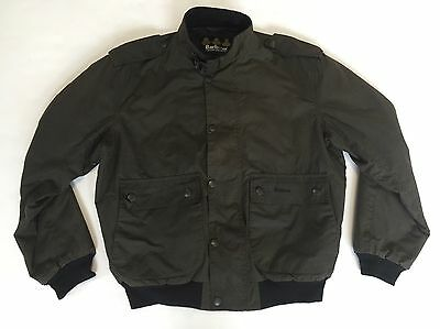 Barbour Waxed Cotton Houndstooth Print Aviator Bomber Style Jacket Mens L A520