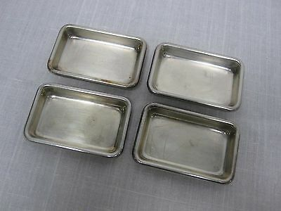 4 Vintage Poole Sterling Silver Rectangle Nut Butter Pat Dishes