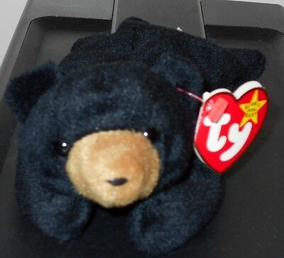 Ty Beanie Baby ~ BLACKIE the Black Bear ~ MINT with MINT TAGS