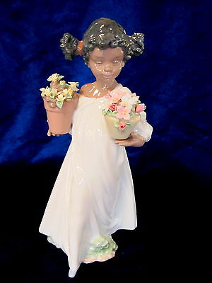 Lladro #6757 First Flowers Brand Nib African American Girl $150 Off Free Shiping