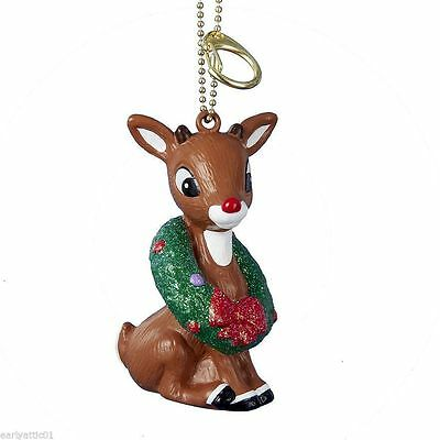 Rudolph The Red Nose Reindeer With Wreath Clip-On Key Chain Ornament