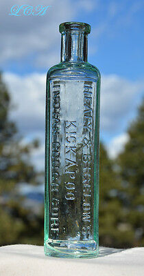 The Real Thing = Antique KICKAPOO INDIAN quack COUGH CURE bottle 1800's PRISTINE