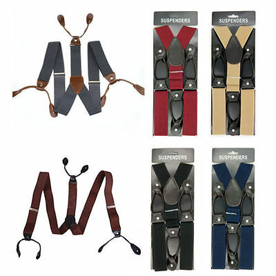 HOT 3.5cm Width Mens Suspenders Braces Solid Adjustable 6 Button Hole Leather PK