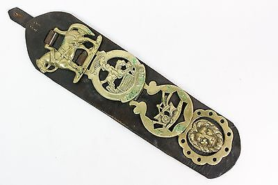 Horse Brass Brasses On Leather Martingales Vintage Equestrian Show