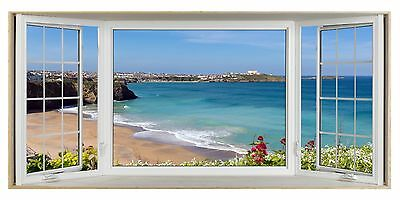 Cornwall Cliff Top Scene 3D Effect Bay Window Picture Fabric Poster Sticker Art