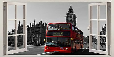 ENGLAND RED BUS LONDON 3D Window View Canvas Wall Art W442 UNFRAMED-ROLLED