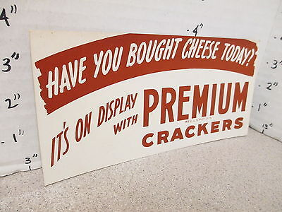 NABISCO 1940s grocery store display sign PREMIUM CRACKERS buy cheese today