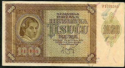 CROATIA - NDH 1941 - 1000 Kuna - Circulated Paper Money