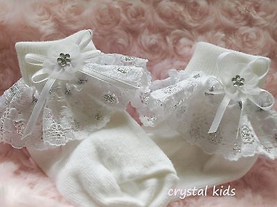 Baby Girls White Silver Christening Party Frilly Socks  ** HANDMADE ** 4 Sizes
