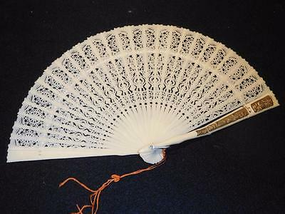 Antique Carved Celluloid Hand Fan for Repair
