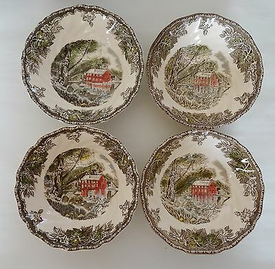 Vintage JOHNSON BROS FRIENDLY VILLAGE Lot 4 Soup Cereal Bowls THE OLD MILL