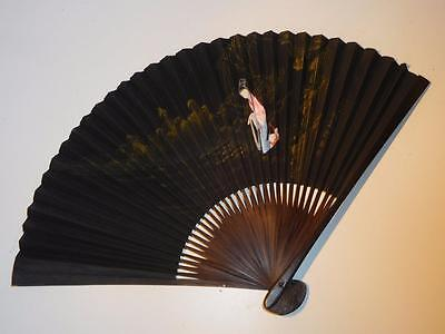 Antique Chinese Hand Painted Bamboo Signed Hand Fan