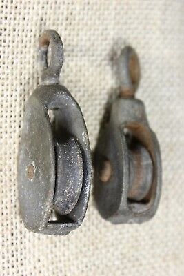 "2 old Pulleys with swivel eye 1"" cast iron wheel vintage rustic and galvanized"