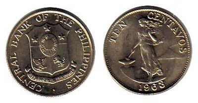 Philippines 10 Centavos 1963 Unc Female Standing Beside