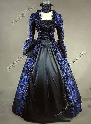 Renaissance Gothic Sorceress Dress Steampunk Ghost Witch Halloween Costume 138