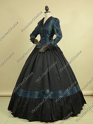 Civil War Victorian Tartan Day Dress 2PC Gown Theater Reenactment Outfit 122