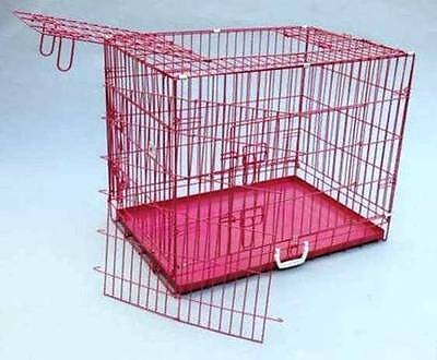 New 42inch 3 Door Pink Folding Dog Crate Cage Kennel w/DIVIDER