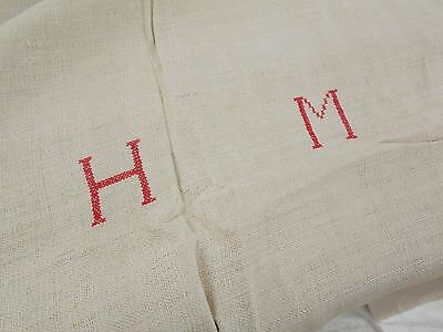 89x50 Vtg Antique MONOGRAM Quilt Blanket HEMP LINEN Fabric FEED SACK GRAIN BAG