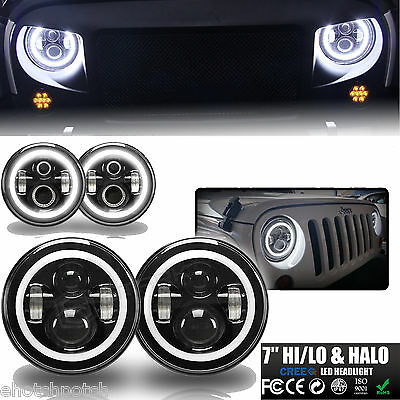 7 Inch Halo Angel Eyes LED Projector Headlights BLACK For 97-16 Jeep Wrangler