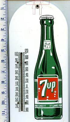 Vintage SEVEN UP 7 UP PORCELAIN THERMOMETER SIGN CANADIAN NICE EXAMPLE FREE SHIP