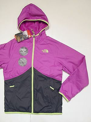 New tag Girls North Face Violet Reversible Breezeway Wind Hooded Jacket M L XL