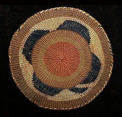 "Excellent Uncommon Antique Tlingit Polychrome Basketry Tray or Scoop 6 1/2""d"