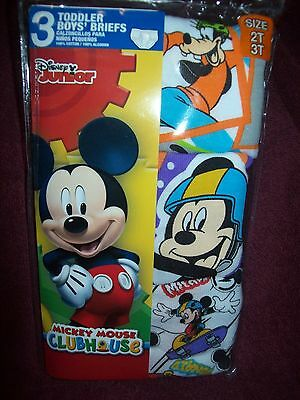 Toddler Boys MICKEY MOUSE Underwear Briefs - Size 2T / 3T - THREE Pairs NEW  NWT