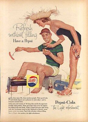 Pepsi Refresh without filling hot dogs at beach ad 1956