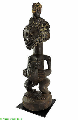 Songye Male Power Figure Horned Nkishi Congo 23 Inch Africa