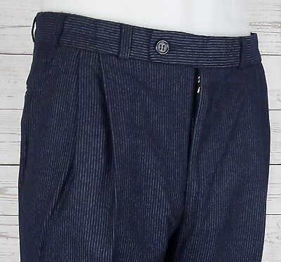 Vtg Smart Blue Pinstripe Pleated Wool Blend Trousers W32 L33 DE26